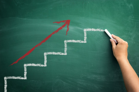 Step by step to the top, concept business progress