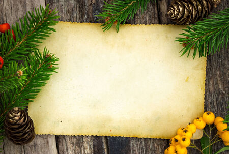 grunge border: Christmas theme with blank paper on wooden planks