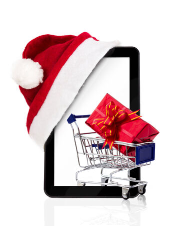 shopping chart: Christmas shopping, tablet pc with shopping chart, online shopping
