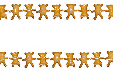 gingerbread cookies isolated on white background with space for your text photo