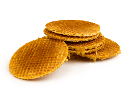 manjar: Dutch Waffles, stroopwafel, isolated on white background