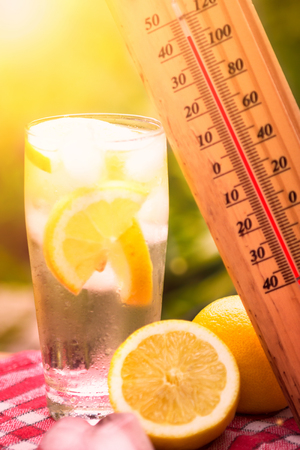 high temperature on thermometer,  hot day Stock Photo
