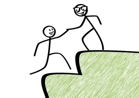 little man: Partnership support, scribble little man helps another little man Stock Photo