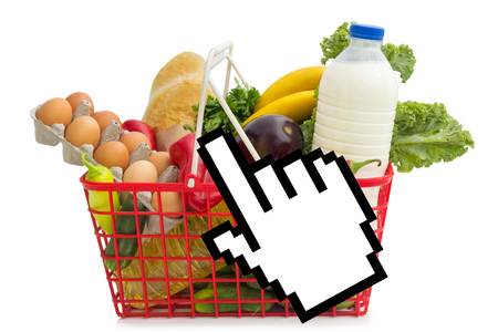 Shopping basket full of grocery, concept of online shopping