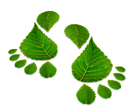 reusing: Two black man footprints isolated on white,  ecological