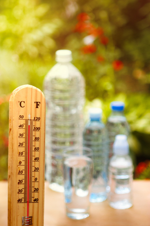 Take care dehydration on hot days, high temperature at summer Stock Photo