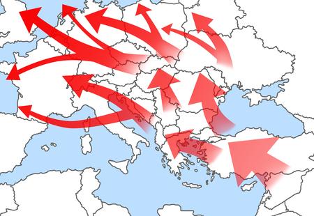 Mapa ilustrativo de la inmigración a la UE desde Asia y África, mapa con mapa con huellas Foto de archivo