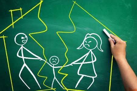 family: Divorce concept, family split apart with broken home,  scribble on blackboard