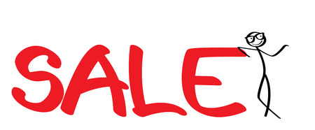 stickman leaning against on a big sale sign Stock Photo