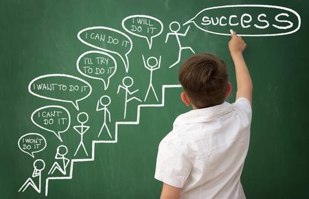 learning motivation,  boy writes motivation messages on the blackboard