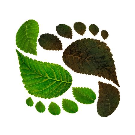 Duurzaamheid van ecologie tegen milieuvervuiling, concept van koolstofvoetafdruk Stockfoto - 72705632