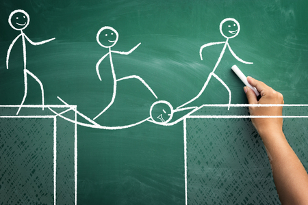 Concept of teamwork with colleague like a bridge, sacrifice for the work of the teams success