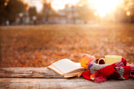 Open book, apple and tea cup with warm scarf on wooden surface