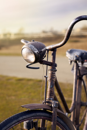 headlamp: Old bicycle, vintage headlamp
