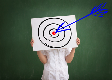 targets: Right in the center ? concept of successful business move, which is big hit, presented by blue arrow hitting red target Stock Photo