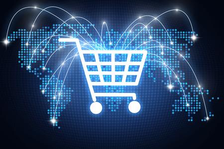 Entwerfen Sie mit der Warenkorbikone, die auf verschiedene Plätze rund um den Globus mit Linien, Onlineeinkaufskonzept zeigt Standard-Bild - 76474754