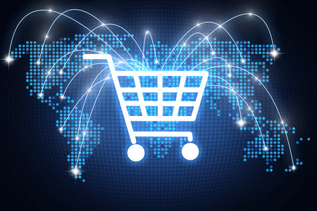 Design with shopping cart icon pointing on different places around the globe with lines, online shopping concept