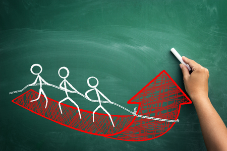 Fast growing business with team work - concept with team of employers on red arrow to success