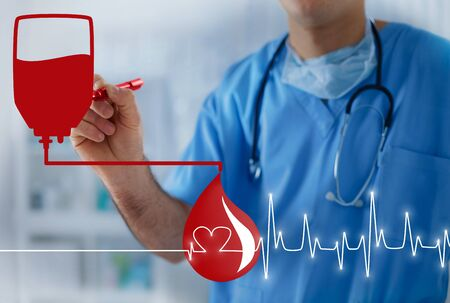 group therapy: Blood bag, blood drop and heart pulse, transfusion concept with doctor in the background