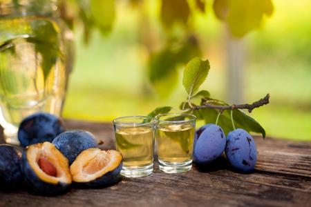 rakia: Traditional Serbian rakia in shot glasses