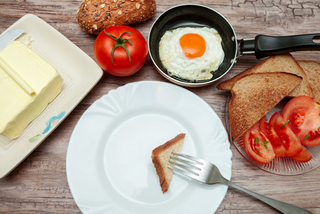 Fried egg,butter,tomatoes and toast-Served homemade breakfast