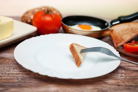 Piece of bread toast on a fork on empty plate
