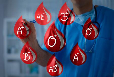 Gouttes de sang avec différents types de sang, le médecin tient un marqueur en arrière-plan