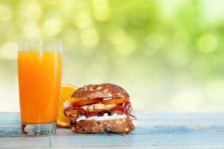 Stuffed buns with orange juice on the table-Chrono diet