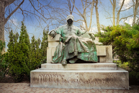Statue of Anonymous in front of the City Park of Budapest