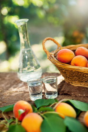 Alcohol apricot brandy in shot glass with fresh apricots in the basket