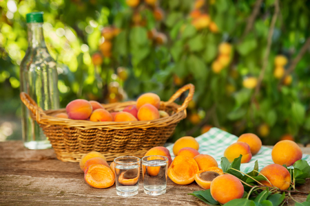 Fruit brandy and raw apricots on wooden table