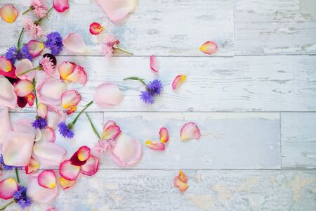 Colorful flowers and petals on wooden table Standard-Bild