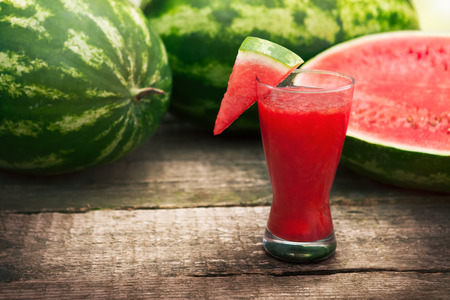 fresh watermelon smoothie in glass