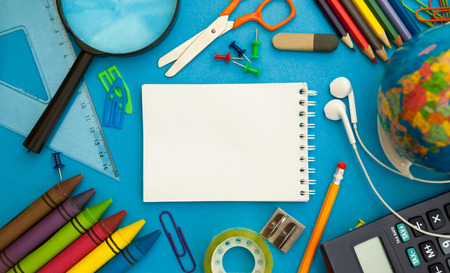 Back to school supplies, empty paper concept ready for text Standard-Bild