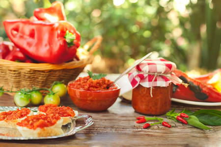 Delicious Ajvar served on bread to eat  Standard-Bild