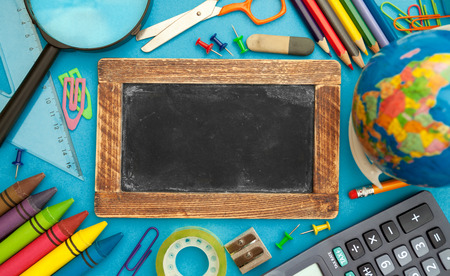 School accessories, empty chalkboard design for text Standard-Bild