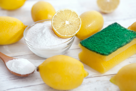 Organic cleaners for household, baking soda and lemon