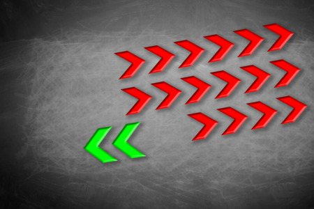 Arrows pointing to an opposite direction. Concept of contradiction.  Stock Photo