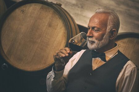 Senior man with white beard drinking and tasting red wine in winery cellar next to a wooden barrel.