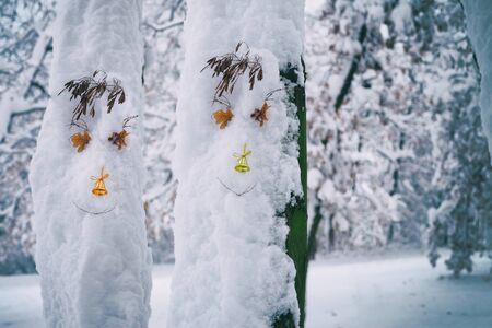 Funny trees with face in snow. Christmas concept
