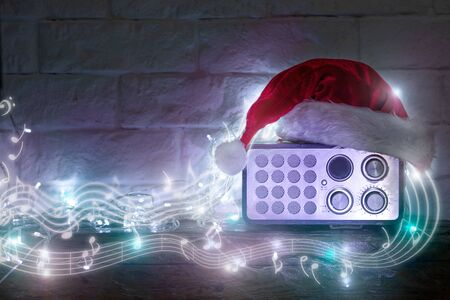 Radio receiver in retro style with Christmas decorations and light beams, Radio, Radio Broadcasting, Christmas, MP3 Player