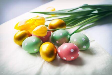 Hand decorated Easter eggs close-up of tulip flowers and hand decorated Easter eggs against white background 版權商用圖片