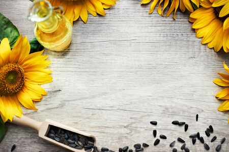 sunflower oil and seeds are placed all around the frame border leaving a useful copy space at the center of the frame