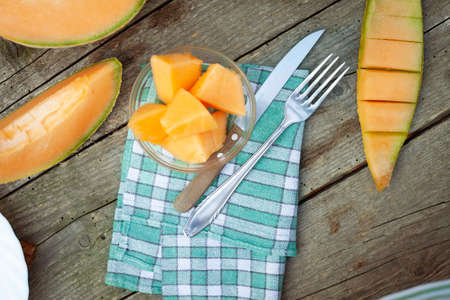 Fresh and delicious cantaloupe on table served