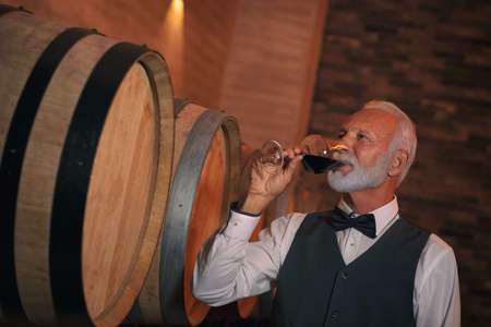 Sommelier Concept. Senior man standing holding glass smelling wine closed eyes joyful close-up Archivio Fotografico
