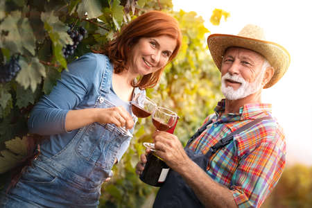 Portrait of couple tasting a glass of red wine in a family vineyard