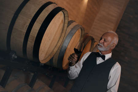 Portrait of a handsome mature man standing in a wine cellar with a glass of red wine