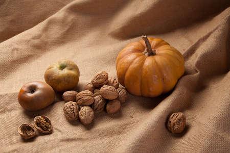rustic autumn still life with pumpkin walnuts apples .