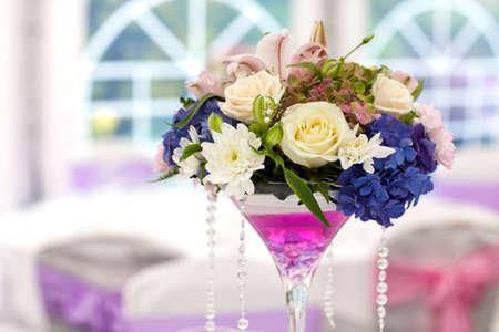 Beautiful flowers on wedding table, nice bokeh Stock Photo