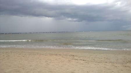 Storm sky on the beach in Estonia Stock Photo